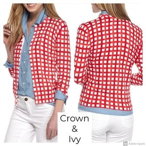 Crown & Ivy Cardigan Sweater 3/4 Sleeve Button S